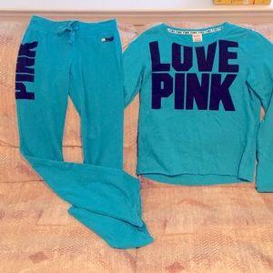 VS PINK light sweat shirt and flare yoga pants